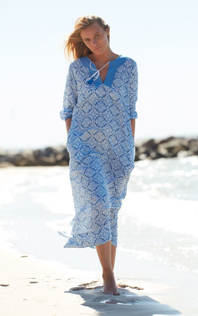 Alicia kaftan maxi dress in blue by La Mandarine Beachwear