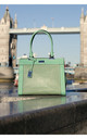 LASER CUT DOUBLE HANDLE TOTE BAG in GREEN by BESSIE LONDON