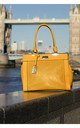 LASER CUT DOUBLE HANDLE TOTE BAG in YELLOW by BESSIE LONDON