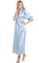 Baby Blue Long Satin Dressing Gown by BB Lingerie