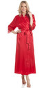 Red Long Satin Dressing Gown by BB Lingerie