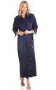 Navy Blue Long Satin Dressing Gown by BB Lingerie