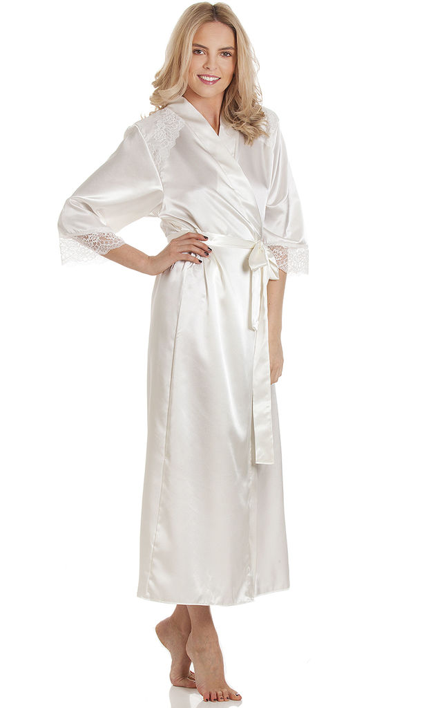 Ivory Bridal Long Satin Dressing Gown by BB Lingerie