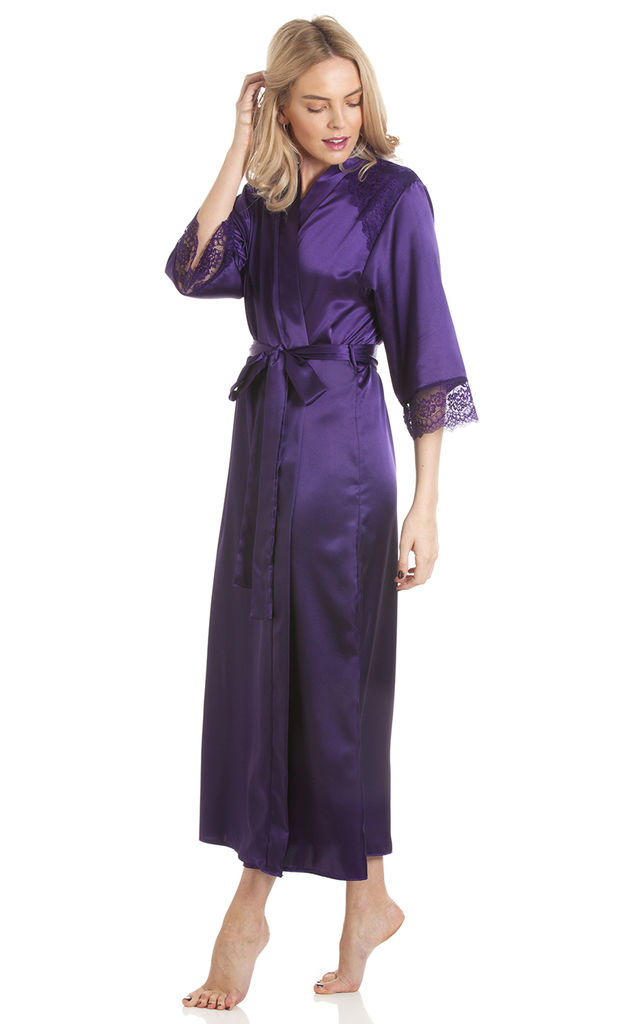 Purple Long Satin Dressing Gown by BB Lingerie