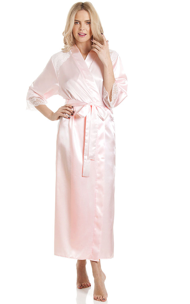 Baby Pink Long Satin Dressing Gown by BB Lingerie