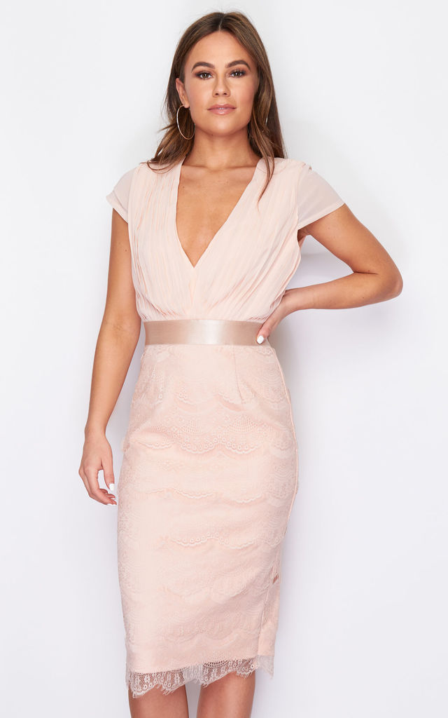 Natalya Pleated Plunge Lace Bodycon Midi Dress Nude by Girl In Mind