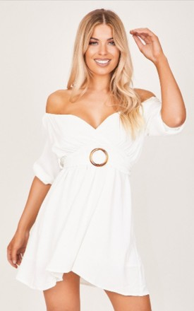 White Off-The-Shoulder O-Ring Dress by Hachu