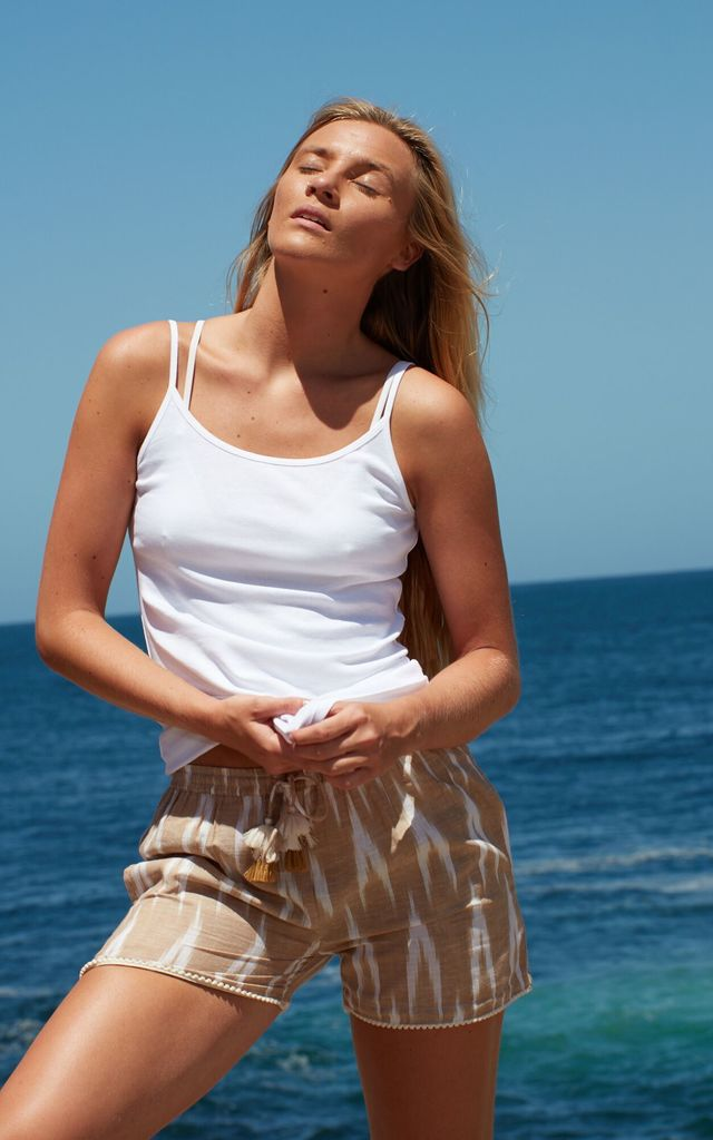 'Carly' Shorts with ikat trim in beige and white by La Mandarine Beachwear