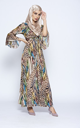 Multi Coloured Printed V Neck Stretch Maxi Dress With Ruffle Sleeve And Ruched Detail by The ModestMe Collection