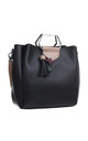 SILVER HEXAGON METAL HANDLE BOXY TOTE WITH A TASSEL DECORATION BLACK by BESSIE LONDON