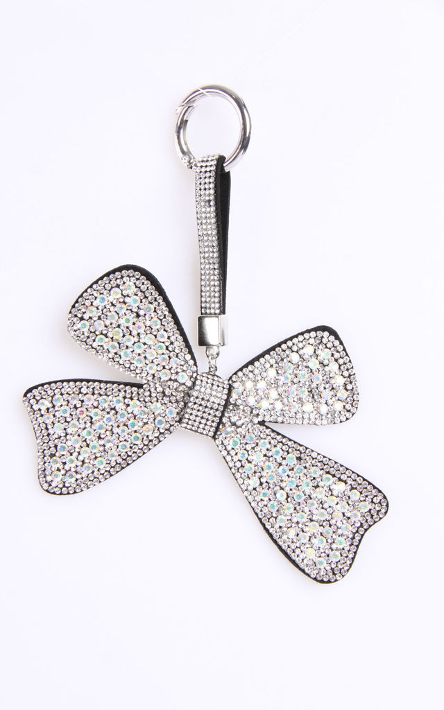 Bow Rhinestone Crystal Diamante Bag Charm Keyring in Clear by Urban Mist