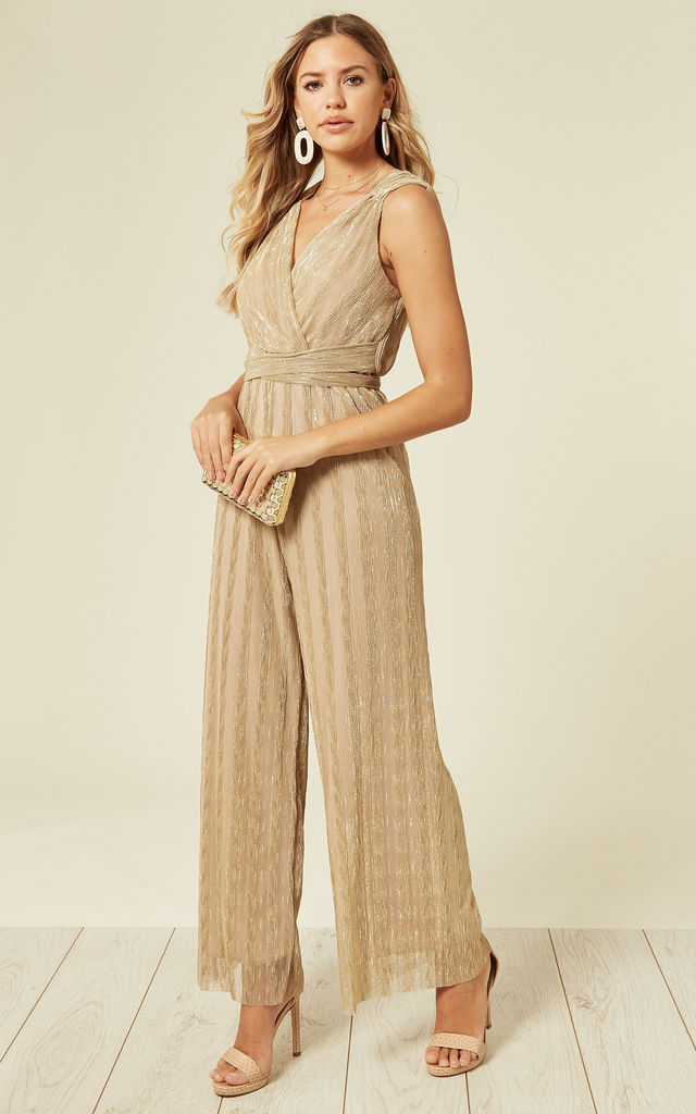 Gold Champagne texture V Neck Jumpsuit by Liquorish