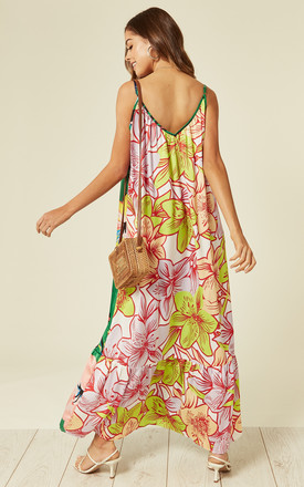 Mix print multiway cami maxi dress in floral print Green Yellow by Liquorish