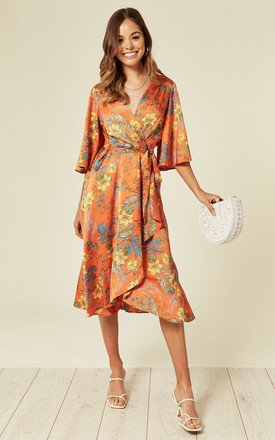 Orange Floral Midi Wrap Dress by Liquorish Product photo