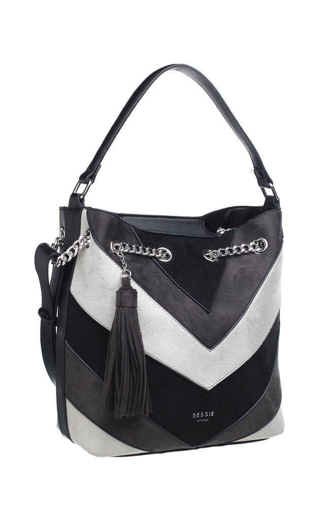 RING CHAIN COLOUR BLOCK SHOULDER BAG WITH TASSEL in BLACK by BESSIE LONDON