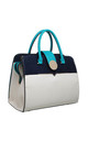 COLOUR BLOCK TOTE WITH GOLD CIRCLE CLIP BLUE by BESSIE LONDON
