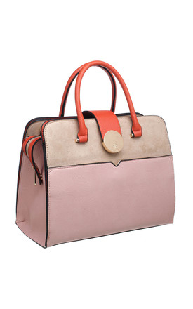 COLOUR BLOCK TOTE WITH GOLD CIRCLE CLIP PINK by BESSIE LONDON