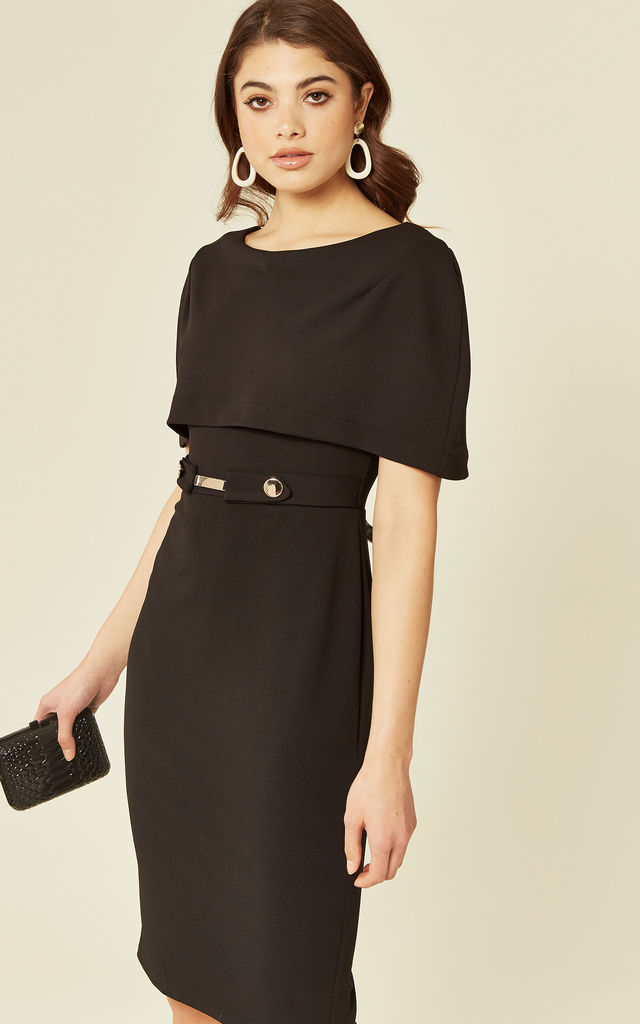 Melanie Black Off The Shoulder Midi Dress by De La Creme Fashions