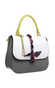 SILK RIBBON FLAP TOP TOTE GREY by BESSIE LONDON