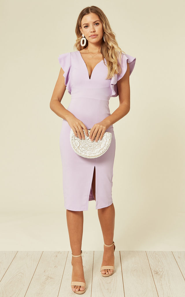 Amelia Lilac Ruffle Sleeve Midi Dress by WalG