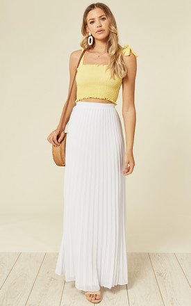 Chiffon Pleated Maxi Skirt in White by TFNC