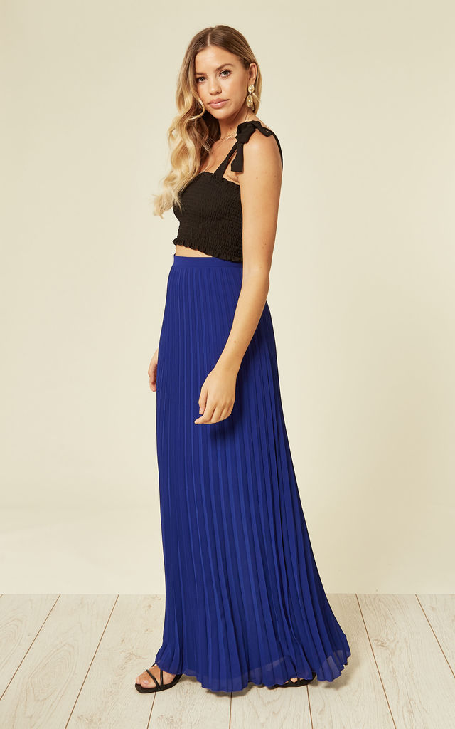 Chiffon Pleated Maxi Skirt in Cobalt by TFNC