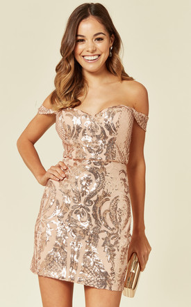 ALEXIYA ROSE GOLD BARDOT SWEETHEART SEQUIN EMBELLISHED ILLUSION MINI DRESS by Nazz Collection