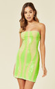 TIE ME UP NEON GREEN BANDEAU CAGE SEQUIN BANDAGE ILLUSION LACE UP DRESS by Nazz Collection