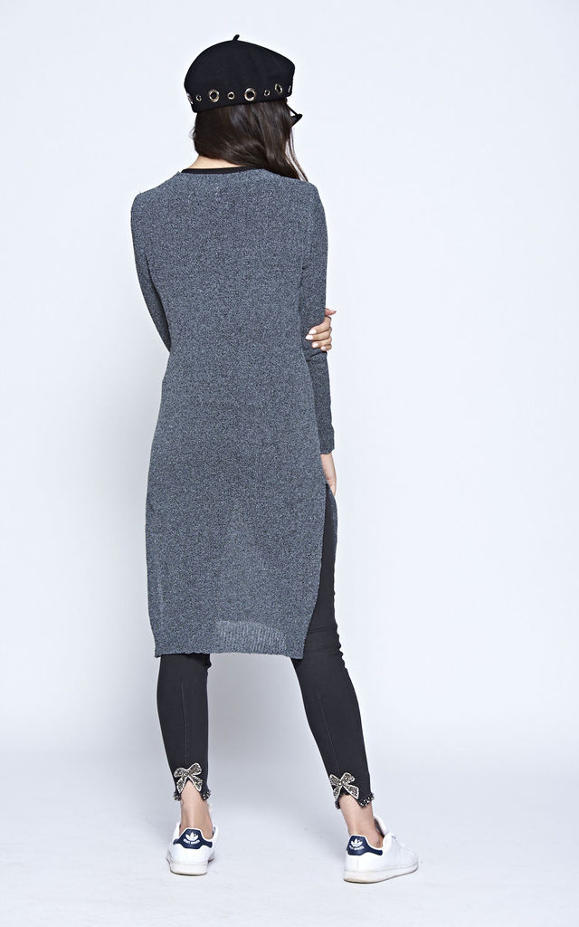 Grey Fine Gauge Speckled Long Sleeve Distressed Jumper Dress With Side Splits by The ModestMe Collection