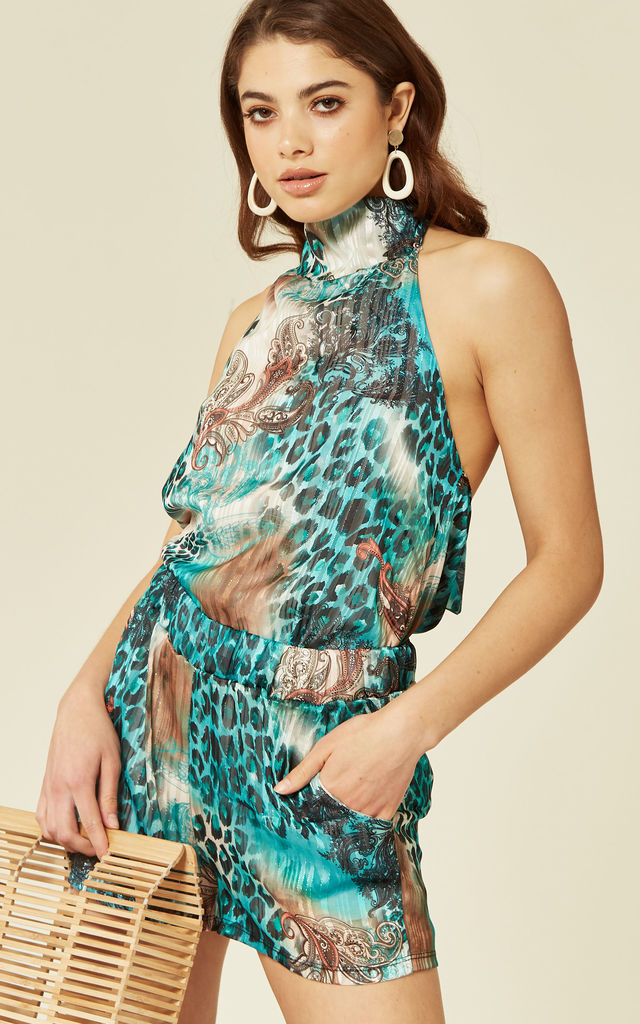 Sheer Chiffon Halter Neck Co Ordinate Turquoise by Lucy Sparks