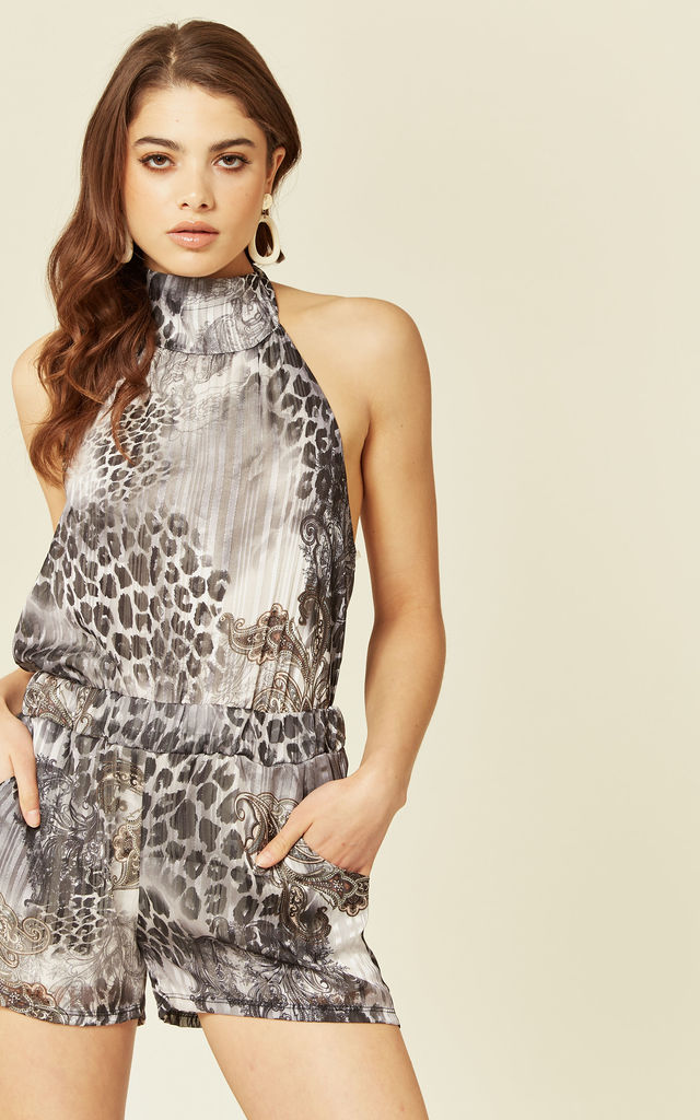SHEER CHIFFON HALTER NECK CO-ORDINATE in Black and White by Lucy Sparks