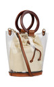 WOODEN RING HANDLE TRANSPARENT BUCKET BAG KHAKI by BESSIE LONDON