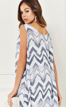 White, Grey and Navy Zig Zag Midi Dress by Bella and Blue