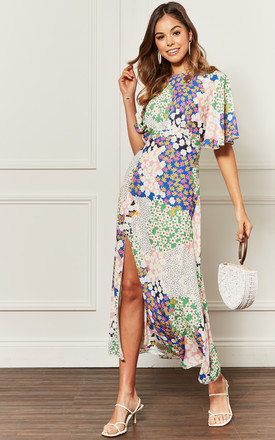Kimono Sleeve Midi Dress with Split Leg in Multi Mix Print Cream by John Zack