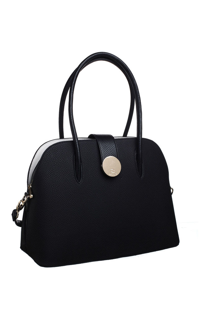 LARGE SHELL SHAPE HANDBAG WITH CARD HOLDER BLACK by BESSIE LONDON