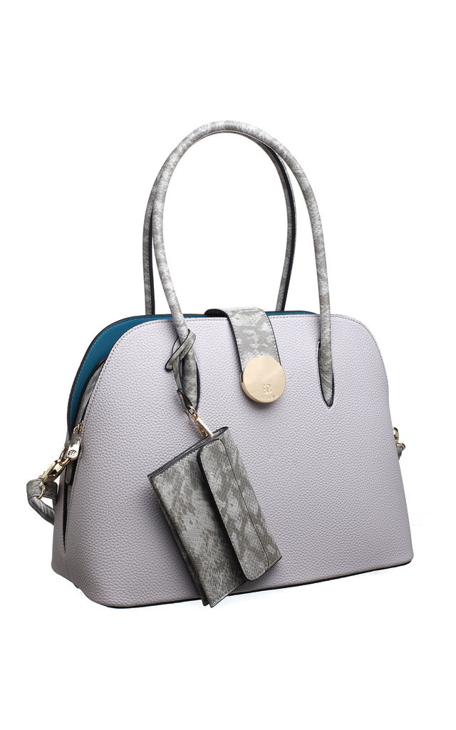 LARGE SHELL SHAPE HANDBAG WITH CARD HOLDER GREY by BESSIE LONDON