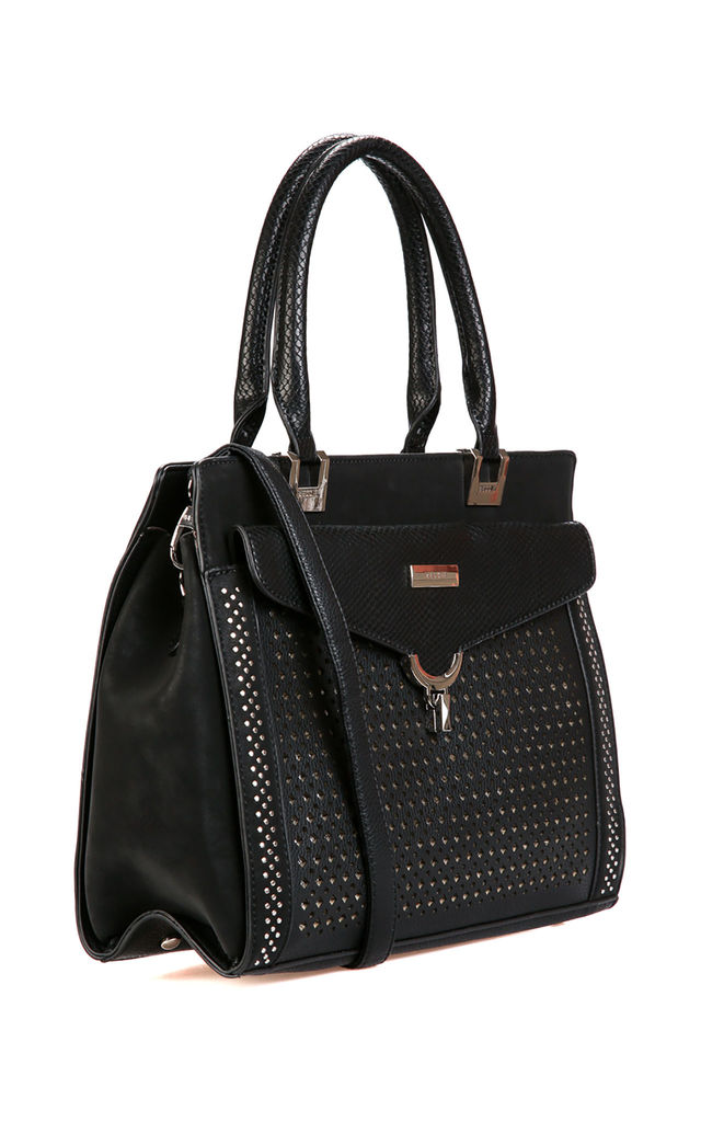 LASER CUT FRONT POCKET STUDDED TOTE BAG in BLACK by BESSIE LONDON
