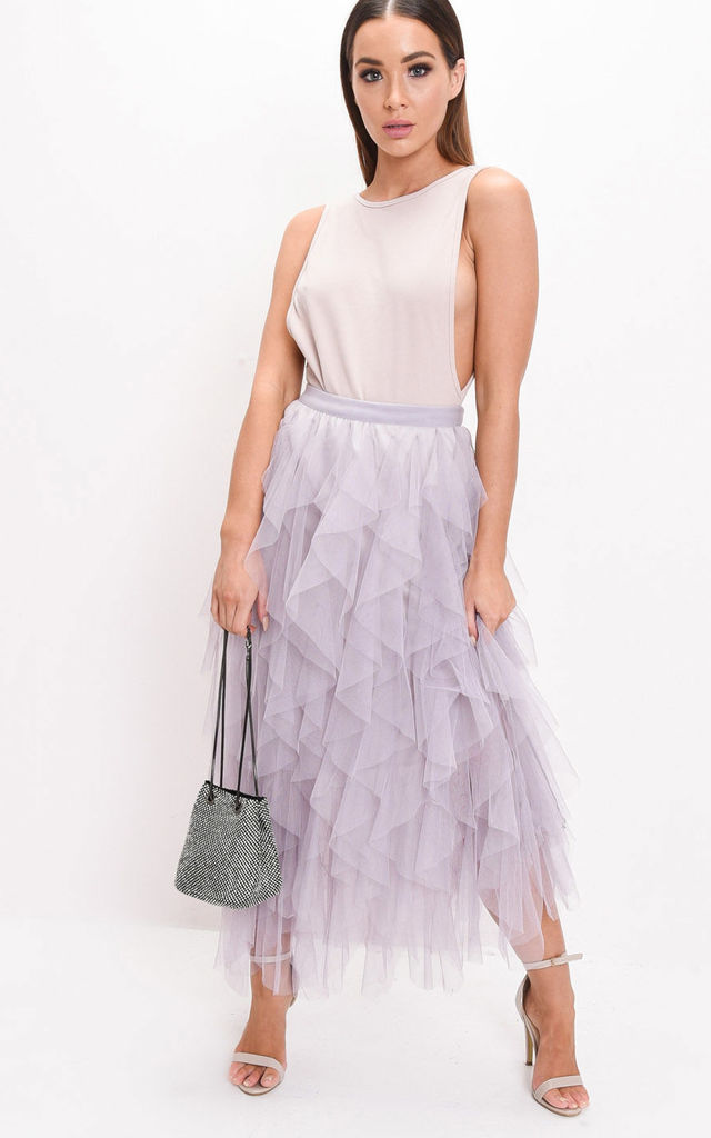 51e38e9909f6a1 High waisted layered tulle ruffle midi skirt grey by LILY LULU FASHION