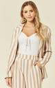 Jacket In Beige And White Stripes by Lucy Sparks
