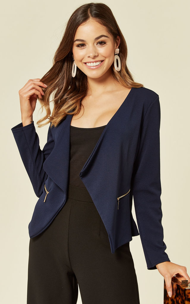 Amelia Navy Waterfall Open Front Jacket by De La Creme Fashions