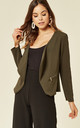 Amelia Khaki Waterfall Open Front Jacket by De La Creme Fashions