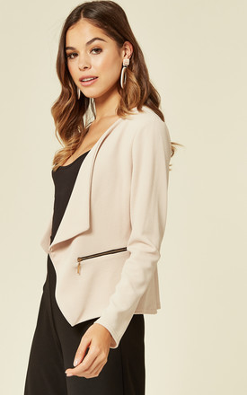 Amelia Stone Waterfall Open Front Jacket by De La Creme Fashions