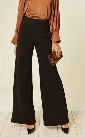 High Waisted Wide Leg Stretch Trousers in Black by The ModestMe Collection
