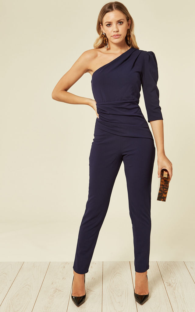 One Shoulder Three Quarter Sleeve Navy Jumpsuit by Miss Pandora
