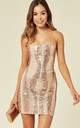 TIE ME UP ROSE GOLD BANDEAU CAGE SEQUIN BANDAGE ILLUSION LACE UP DRESS by Nazz Collection