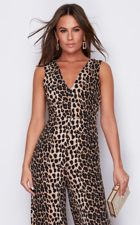 Polly V Neck Culotte Jumpsuit Animal Print by Girl In Mind Product photo