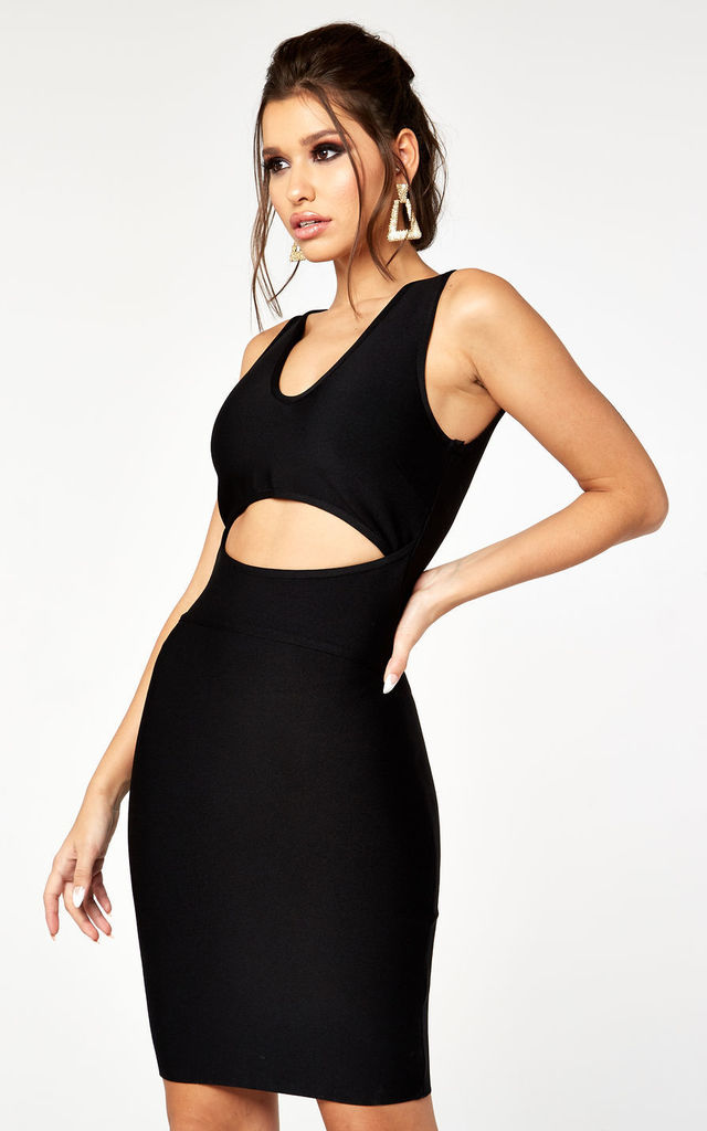 CUT AWAY FRONT DETAIL BANDAGE MINI DRESS in BLACK by The Girlcode