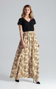Flowy Pleated Maxi Skirt in Neutral Print by FIGL