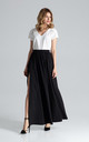 Flowy Pleated Maxi Skirt in Black by FIGL