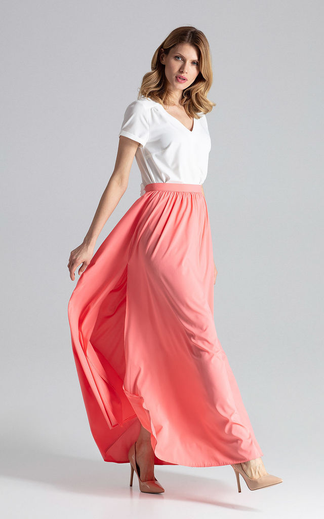 Flowy Pleated Maxi Skirt in Coral by FIGL